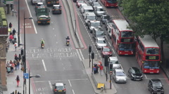 Crowded Busy Street Traffic Jam Car Passing London City Rush Hour Aerial View UK Stock Footage