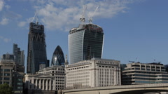 Busy City London Skyline Tower 42 Gherkin Willis Building Stock Exchange Tower Stock Footage
