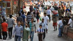 People around hiduist temples on Durbar square in Kathmandu Stock Footage