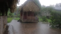 Monsoon in a rainforest village  Stock Footage
