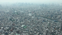 Hazy panorama of Tokyo city from Skytree, 2014 (10) - stock footage