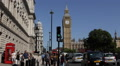 London Big Ben People Walk Sidewalk Busy Street Cars Passing Rush Hour Traffic Footage