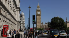 London Big Ben People Walk Sidewalk Busy Street Cars Passing Rush Hour Traffic Stock Footage