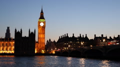 Illuminated Night Dusk Westminster Palace London Landmark UK Parliament Big Ben Stock Footage
