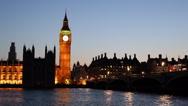 Stock Video Footage of Illuminated Night Dusk Westminster Palace London Landmark UK Parliament Big Ben
