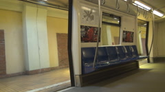 Subway train blue sits for passengers, empty train closing doors, nobody travels Stock Footage