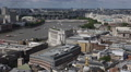 London Eye Skyline Aerial View Rooftop Panorama Urban Scene Architecture Ship UK Footage
