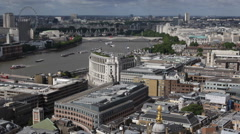 Stock Video Footage of London Eye Skyline Aerial View Rooftop Panorama Urban Scene Architecture Ship UK