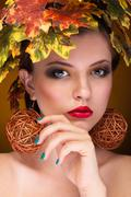 beautiful woman portrait in fashion art autumn concept - stock photo