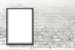 Blank vertical painting poster in black frame Stock Photos