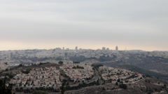 Stock Video Footage of View of Jerusalem from Prophet Samuel Mount