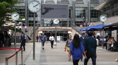 Businessmen People Walking Canary Wharf London Business District Office Building Stock Footage