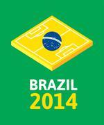 Stock Illustration of flat green soccer field, brazil flag