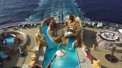 Mediterranean family cruise ship swimming pool fast 4K 009 Stock Footage