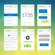 Mobile flat interface elements with colorful wallpaper, design for applicatio Stock Illustration