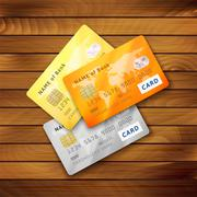 Set of detailed glossy credit cards Piirros