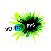 ink explosion banner design template, digital watercolor blot spot - stock illustration