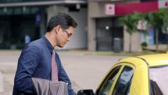 Business man, manager calling taxi, cab, city street, travel - stock footage