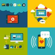 set of flat design concept icons for web and mobile phone services and apps - stock illustration