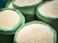 Rice for sale at the asian market. organic food background Stock Photos