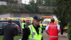Civil protection training, Paramedic in action Stock Footage