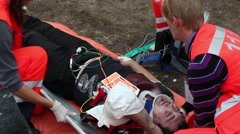 Paramedic in action Saving lives Stock Footage