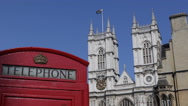 Stock Video Footage of Westminster Abbey London Vintage Telecommunications Old Red Telephone Phonebox