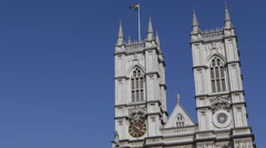London Landmark Iconic Westminster Abbey Gothic Church Blue Sky Sunny Day UK Stock Footage