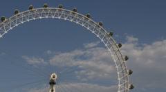 Close Up Famous Landmark London Eye Capsule Iconic Entertainment UK Blue Sky Day Stock Footage