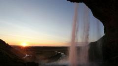 Seljalandsfoss, waterfall at sunset, Iceland Stock Footage