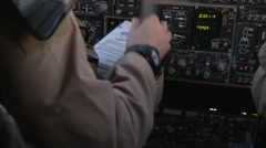 Cockpit of Rockwell B-1 Lancer bomber aircraft Stock Footage