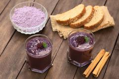 Ecuadorian drink called colada morada Stock Photos