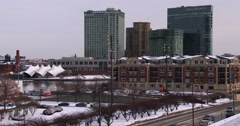 Snow blankets downtown Baltimore, Maryland. - stock footage