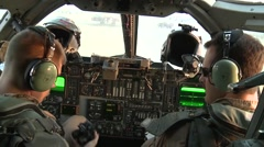 Pilots in cockpit of Rockwell B-1 Lancer bomber aircraft Stock Footage