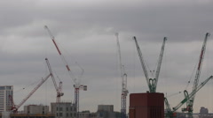 London City Building Under Construction Site Cranes Silhouettes Moving Cloudy - stock footage