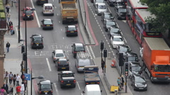 Urban Scene Rush Hour Aerial View Metropolitan Area London Traffic Vehicles Day Stock Footage