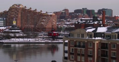 The cityscape and harbor of Baltimore in winter. Stock Footage