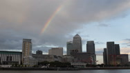 Stock Video Footage of Canary Wharf Colorful Rainbow London Corporate Skyscrapers Office Buildings UK