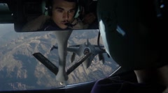 F-16C Fighting Falcon Getting Fuel From KC-15 Stratotanker Over Afghanistan Stock Footage