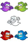 Cartoon Crazy Looking Ghosts - stock illustration