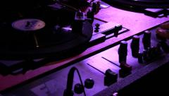 Old record deck dj'ing shellac 78 records on steadycam Stock Footage