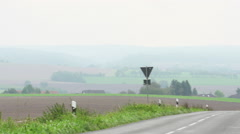 German road and fields. - stock footage
