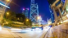 Hyperlapse video of a busy street in Hong Kong Stock Footage