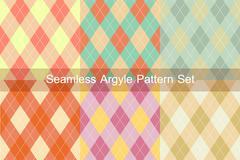 seamless argyle pattern. diamond shapes background. vector set. - stock illustration