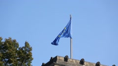 European flag fluttering Stock Footage