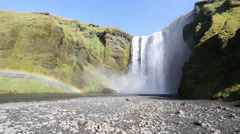 Skogafoss, double rainbow and sunny day, Iceland Stock Footage