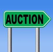 bid online auction - stock illustration