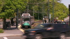 Boston Commuter Train Arriving Stock Footage