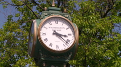 Clock in New England Town Square Stock Footage