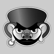 Sticker - evil pirate with hat and earrings Stock Illustration